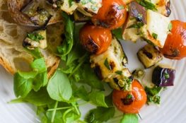 Halloumi, Tomato and Aubergine Skewers