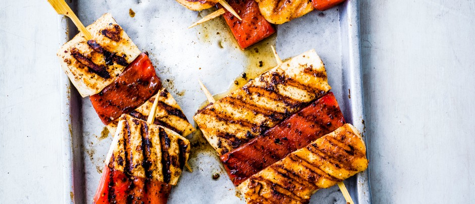 halloumi and Watermelon Skewers