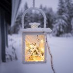 Lamp with snow on it