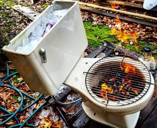 bbq made from a toilet