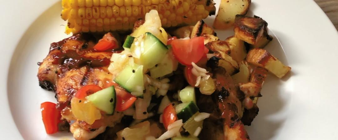 BBQ chicken with a kiwi salsa